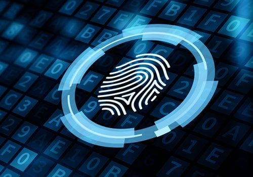 Fingerprint scan security access with biometrics identification.